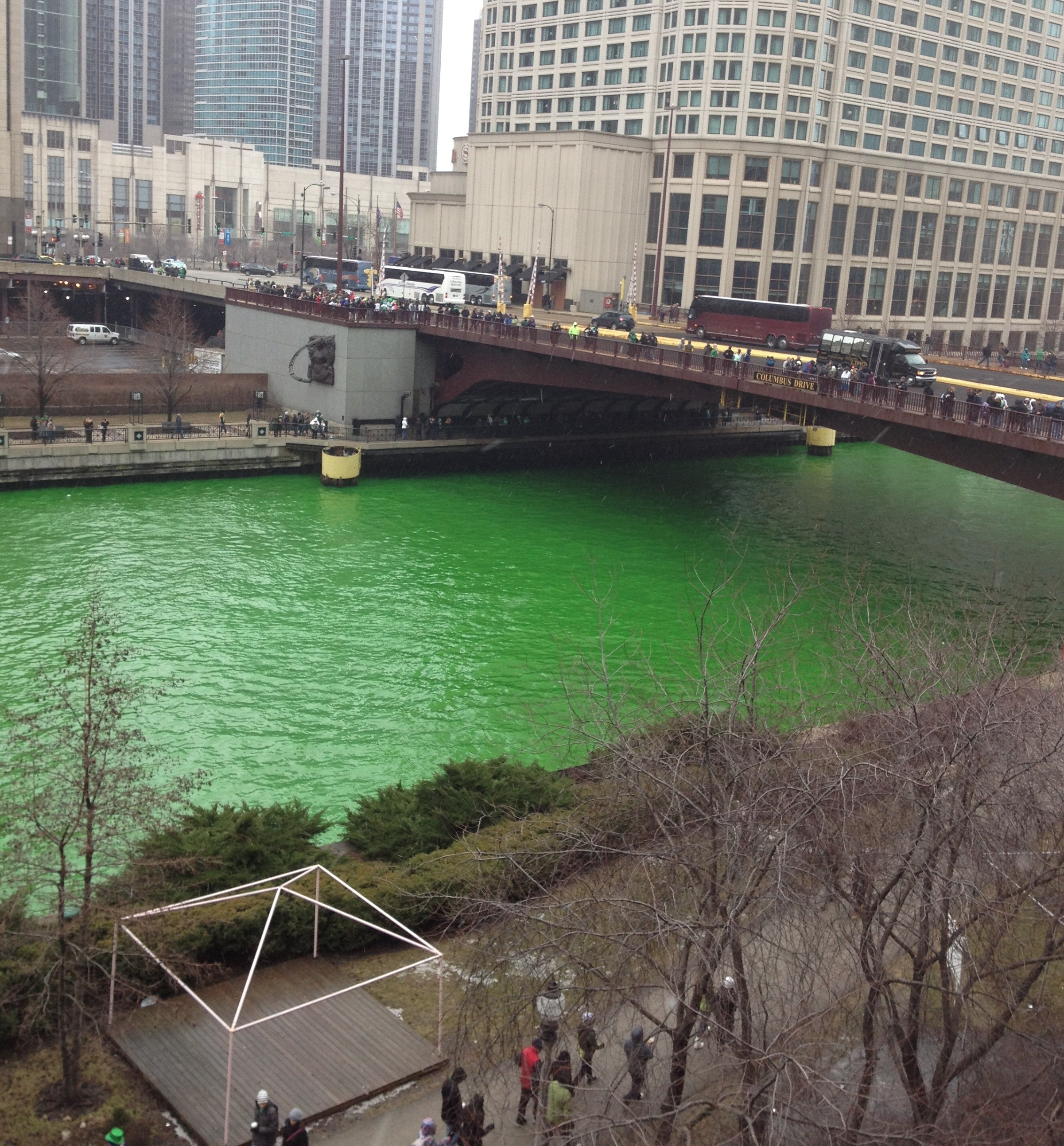 While Michiganians celebrated St. Patrick's Day, Chicago residents took part in a longtime tradition. Thousands of people turned out last weekend to see the Chicago River dyed green to start off the holiday celebration. PHOTO/BRIANNA BUDNY