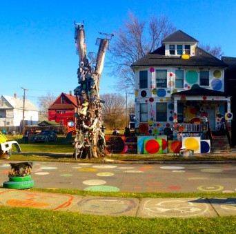 The Polka Dot House stands tall as one of the few remaining in the Heidelberg Project. PHOTO/ARDITA IVEZAJ