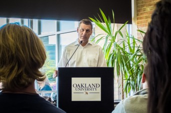 Rick French speaks to students at Oakland University. COURTESY/SALWAN GEORGES, The Oakland Post