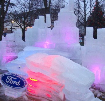 Some of the sculptures sagged a bit as temperatures climbed at the Plymouth Ice Festival. PHOTO/CAITLIN RENTON
