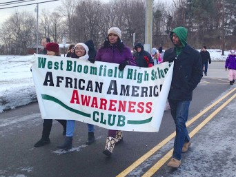 Bundled-up participants marched to support diversity and equality. PHOTO/CAITLIN RENTON