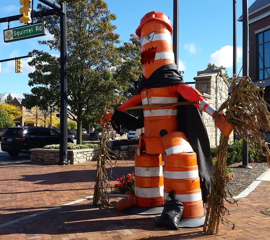 A figure made from traffic cones is part of Halloween decorations in downtown Auburn Hills. The figure is seen from the intersection of Squirrel and Auburn roads. PHOTO/NOWSHIN CHOWDHURY