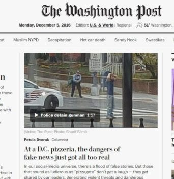 A man was arrested for firing a rifle in a pizzeria that was the target of a fake election story. This is a photo of The Washington Post story on the incident. PHOTO/FAITH BRODY