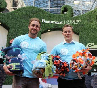 Nicholas Kristock and Dan Brown visited the Beaumont Children's Hospital in Royal Oak, Michigan, in November to deliver blankets from Fleece and Thank You to patients. PHOTO/NOWSHIN CHOWDHURY